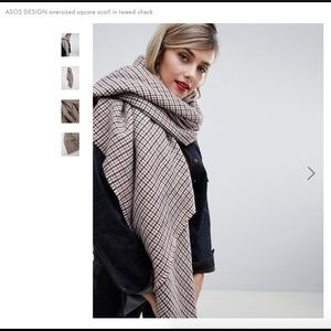 Oversized Square Scarf in Tweed Check
